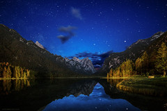 Gio_guarda_le_Stelle (gio_guarda_le_stelle) Tags: sky italy lake beauty night clouds stars lago nightscape sofia atmosphere dolomites dolomiti notturno stelle mountainscape toblachsee