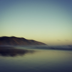 ~ Cliff on Sea ~ (Explored) (Flick Vlooi) Tags: ocean light sunset newzealand cliff blur reflections square landscape evening shore sunsetbeach icm fa31 portwaikato intentionalcameramovement