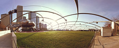 Panoramic Pritzker (vonderauvisuals) Tags: auto park morning urban music sun chicago color green grass photoshop wow frank lens hall stand concert warm day mood open angle post stitch bright time grant famous wide band images panoramic millennium together processing area flare pavilion photomerge feeling visuals awake venue hue tone stitched lots gery architecure pritzker correction chicagoist vonderau gherty
