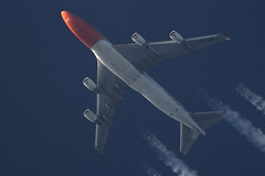 TNT Boeing 747 OO-THB (Thames Air) Tags: tnt boeing 747 oothb contrails telescope dobsonian overhead vapour trail