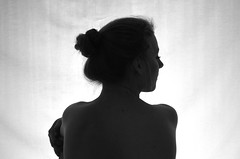 mask (ingridbinsted-pickering) Tags: lighting blackandwhite white black girl face portraits hair chair nudes mask natural skin profile sideprofile assessment hairup