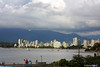 West End from Kits Pool (gerry.bates) Tags: sky people canada water skyline vancouver clouds canon boats apartments bc britishcolumbia towers kitsilano burrardinlet yachts sailboats westend highrises kitspool northshoremountains