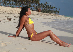 Sheila sitting on beach (michael bottoms-apologies to everyone...) Tags: summer sun sunlight sexy beach water beautiful yellow sunrise dominican dominicanrepublic sunny bikini fit puntacana coronabikini granbahiaprinciperesort