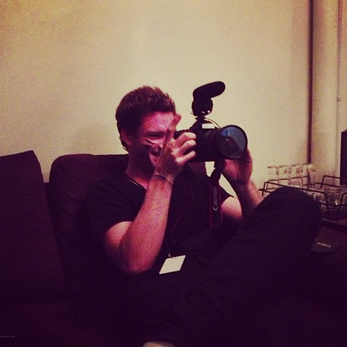 Our video guy James Base getting...