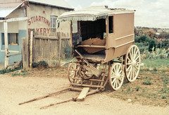 Cart and Bakery (oz_lightning) Tags: building history film architecture scanner decay transport australia slide scan nsw cart aus filmscan stuarttown 35mmfilmcamera yashicaj3 35mmslrcamera yashinon50mmf2lens canonpixmamg8150 hanimexcs50