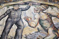 Winston Churchill as Defiance | Mosaic | National Gallery (Paul Dykes) Tags: uk england london mosaic teeth swastika helmet victory nationalgallery winstonchurchill demon devil vsign 1952 defiance triplecrown borisanrep papaltiara vision:text=0513 vision:outdoor=0731 themodernvirtues northvestibule