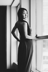 Every shade of her. (kaybee07) Tags: light shadow bw woman white black girl beautiful beauty lady asian model long pretty dress natural chinese shade ambient bandw empowerment