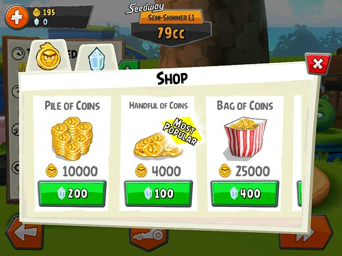Angry Birds Go! Virtual currency Bank: screenshots, UI