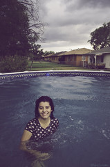 Evening Swim (ilikethesnakeonyourtattoo) Tags: light portrait sky naturaleza oklahoma nature water colors pool girl weather clouds composition swimming portraits photography evening nikon photographer retrato teens stormy nubes editing filters storms actions alberca nikond5100 photoshopcc rubygonzalezphotography artsyruby