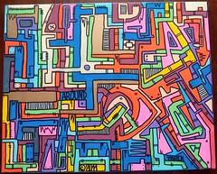 Geometrik by Tarek (Pegasus & Co) Tags: urban streetart paris art colors painting skull graffiti artwork collages live paintings arts dessin peinture menatwork bd artistes urbain tarek   arturbain  livepainting  geometrik