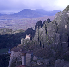 Light on the Holy Monastery of St. Nicholas Anapausas (Twilight Tea) Tags: december greece meteora 2014 kastraki