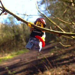 Hold Tight (Deanomite85) Tags: park morning trees food tree nature toy outside toys holding branch lego walk sausage falling minifig minifigs collect colchester legominifigure minifigure legography