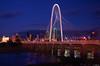 Iconic Margaret Hunt Hill Bridge (@SidMaj) Tags: city bridge light usa reflection water skyline night dallas cityscape texas top20flickrskylines margarethunthillbridge