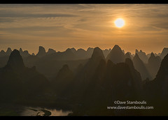 Sunset over hundreds of mountains, Xingping, Guangxi Autonomous Region, China (jitenshaman) Tags: china travel sunset sun mountains tourism nature water silhouette river landscape asian liriver li scenery asia guilin yangshuo hill sightseeing chinese aerial hills limestone vista destination peaks overlook viewpoint karst birdseye guangxi xingping worldlocations laozhaishan laozhaihan birdseyepavillion