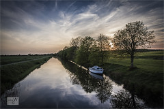 Evening Falls On Romney Marsh. (ziggystardust111...taking a break !!!) Tags: trees light sunset sky reflections boat canal romneymarsh royalmilitarycanal ziggystardust113hotmailcouk