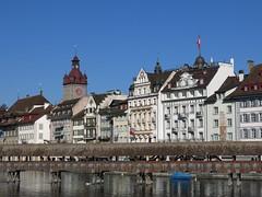 Luzern / Lucerne, Switzerland (swissbert) Tags: tourism switzerland suisse outdoor luzern sunny lucerne vierwaldstttersee publicdomain chapelbridge lakelucerne kapellbrcke cc0