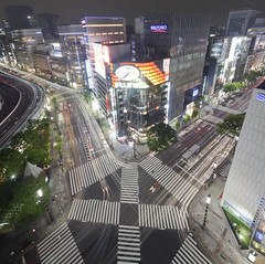 Ginza cross (spiraldelight) Tags: night tokyo ginza   traffictrails eos5dmkii tse17mmf4l