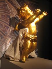 TWO ANGELS. (goldiesguy) Tags: old vatican statue museum woodwork artwork statues vaticansplendors goldiesguy