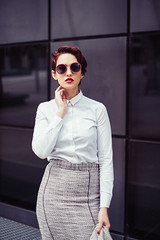 Soraya (Pauline L..) Tags: city portrait urban woman girl beauty sunglasses fashion 50mm glamour nikon f14 suit nikkor d600