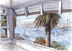 Sydney Harbour from Cremorne Point (panda1.grafix) Tags: seascape sketch sydneyharbour sydneyoperahouse sydneyharbourbridge pencilinkwash