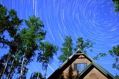 All the Stars over the Cabin (Explore 4) (Sam Wagner Photography) Tags: trees light moon night dark star cabin long exposure north trails stack astrophotography birch