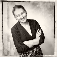 2016-05-28 my favorite model (** RCB **) Tags: woman texture film monochrome smile border hasselblad squareformat rodinal hss sliderssunday