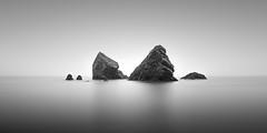 Together (Rolie.K) Tags: longexposure ireland blackandwhite bw beach water monochrome fog landscape rocks fineart minimal le minimalism waterscape coppercoast ballydowane bigstopper