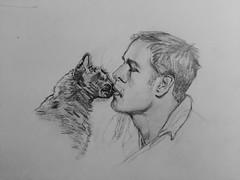Marlon and friend (deniseclark4) Tags: black cat kiss drawing brando marlon graphite