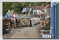 """Takin a Photie"". (Bill McKenzie / bmphoto) Tags: street colour coast fishing fife candid snap photograph alsatian pittenweem westshore eastneuk"