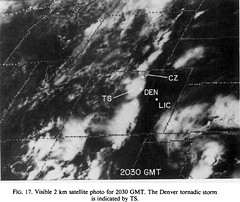 Satellite imagery taken at 2:30pm MDT shows thunderstorms moving through the Denver area. The Thornton tornado would touch down 13 minutes later. (NCAR)