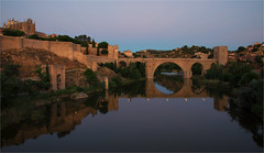 Puente de San Martin in Toledo / Spain (zilverbat.) Tags: city travel bridge wallpaper monument architecture reflections river landscape town twilight spain arch cathedral fort availablelight mark gothic towers culture landmark tourist medieval historic toledo walls brug 14thcentury tagus hotspot spanje sanmartin brucke reflectie archbridge midden citytrip tripadvisor zilverbat verdedigingswerk