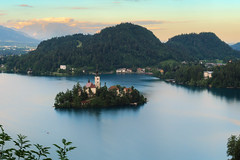 Bled Isle (Dejan Hudoletnjak) Tags: sunset lake church landscape isle lakebled bledisle churchonbled