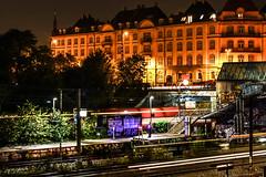 Copenhavn (Hrefna Melste) Tags: copenhagen denmark railway railroads night lighttrails trains city