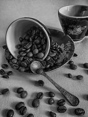 feature coffee (ksenya13_11) Tags: blackandwhite bw white black cup coffee aperture plate spoon bins feature iphone vintagecup vintagespoon coffeebins