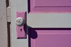 Door Number Two - Explored.  Thank you! (Joanne Dale) Tags: door pink light shadow white canada peeling antique painted doorknob panels keyhole niagaraonthelake on joannedale nikond7200