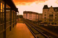 Sunset at train station (Maria Eklind) Tags: street city light sunset summer berlin germany de deutschland europe outdoor citylife trainstation tyskland solnedgng