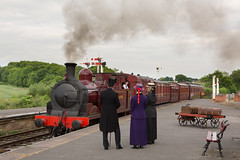 Colourful arrival (alanrharris53) Tags: reflection train rail steam met1 charter preservation butterley