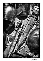 Knight tools... (Artico7) Tags: blackandwhite bw italy monochrome metal blackwhite blood ancient war fuji steel helmet fake honor battle medieval tools armor copper knight brass armature reproduction biancoenero romans helm friuli aquileia sward scabbard xe1