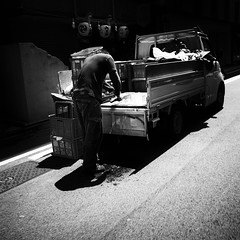 ice cutting man (s_inagaki) Tags: street blackandwhite bw man ice monochrome japan truck tokyo cutting bnw