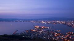 The View of Hakodate Bay at Blue Hour (hanz11hanz) Tags: city longexposure blue sea sky people mountain water japan island lights bay boat hokkaido cityscape nightscape nightshot dusk aerialview bluehour hakodate hakodatemountain
