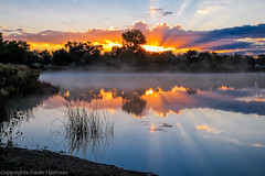 1226 Colorado Sunrise (paule48) Tags: trees usa lake fog sunrise colorado fruita jamesmhobbcoloradoriverstatepark