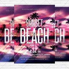 Sunset Beach  Premium Flyer Template + Instagram Size Flyer (ExclusiveFlyer) Tags: pink party summer sun house tree beach festival modern season poster flyer dj miami deep palm savethedate ibiza tropical timeline opening guestdj