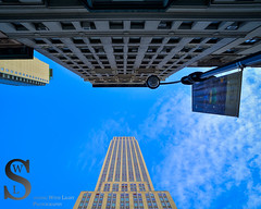 Looking up by the Empire State Building (Singing With Light) Tags: 2016 23rd alpha6000 empirestate flatiron madisonsquarepark mirrorless morningstroll ny nyc singingwithlight sonya6000 city manhattan may photography pond singingwithlightphotography sony urban