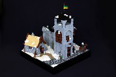 Nordheim Farmhouse (soccersnyderi) Tags: lego model moc nordheim mitgardia mitgardian castle medieval snow collab layout winter tower cottage landscape snowy ice house window door stone wood design technique