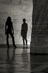 Mysterious Encounter (Carlos Gotay Martnez) Tags: reflections street travel light shadow blackandwhite woman man stone space mysterious curiosity floor column interesting minimalist silhouettes curious encounter urbanexploration traveldestination bw spain palace valencia