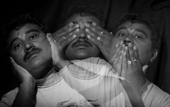 Gandhiji Three Monkeys (IMG_1784_RS) (Satish Chelluri) Tags: portrait photography speaknoevil trick hearnoevilseenoevil slefportrait creativephotography satishchelluri gandhijithreemonkeys