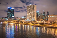 City of Philadelphia. Image of Philadelphia skyline in a evening (DigiDreamGrafix.com) Tags: street city blue usa reflection philadelphia water horizontal skyline architecture night skyscraper sunrise river dawn town twilight highway streetlight cityscape riverside pennsylvania contemporary scenic citylife officebuilding nobody financialdistrict northamerica headlight dramaticsky taillight schuylkillriver urbanscene traveldestinations buildingexterior internationallandmark downtowndistrict multiplelanehighway