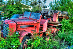 Yesterday's Hero ( Craig Leaper) Tags: red firetruck hero fireengine junkyard yesterday hdr