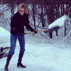 Diva Snow Shoveler (Brent Stromme) Tags: snow becky shovel diva uploaded:by=flickrmobile flickriosapp:filter=nofilter