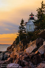 Bass Harbor Lighthouse Sunset (TomNC) Tags: new sunset england cliff lighthouse beautiful rock coast harbor bass postcard maine acadia
